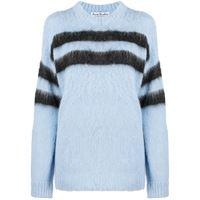Acne studios maglione a girocollo donna light blue charcoal