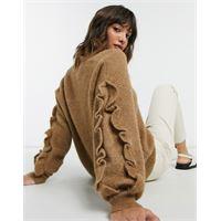 Selected femme - maglione con scollo a v e maniche con volant marrone