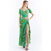 Miss Bikini wrap top maniche corte, giungla verde