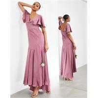 ASOS EDITION - vestito lungo in raso con maniche a volant rosa orchidea-viola