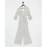 Forever New - tuta jumpsuit con fondo ampio allacciata in vita con bottoni, color crema a pois-multicolore