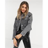 AllSaints - giacca di jeans destrutturata grigio slavato