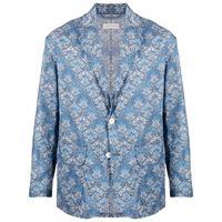 Mackintosh blazer con stampa liberty - blu