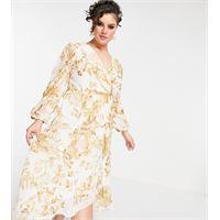 Forever New Curve - vestito midi avvolgente con fondo con volant e stampa a fiori, colore avorio a fiori oro-bianco