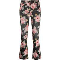 R13 pantaloni crop a fiori - nero