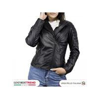 Leather Trend Italy biker donna in pelle di agnello morbida trapuntato