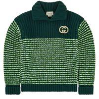 Gucci bambino - green colour block heavy knit turtle neck jumper with gg - bambino - 10 anni - verde