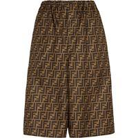 Fendi shorts ff con stampa - marrone