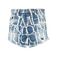 John Richmond shorts denim con stampa - blu