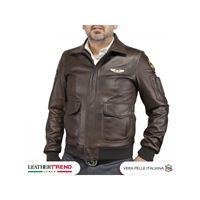 Leather Trend Italy aviatore uomo in pelle vera di agnello con toppe aeronautica
