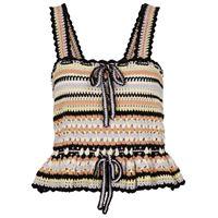 Ulla Johnson top zita a righe in crochet di cotone
