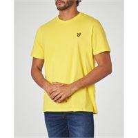 Lyle & Scott t-shirt gialla mezza manica con logo aquila gialla ricamata