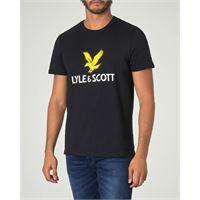 Lyle & Scott t-shirt nera mezza manica con maxi logo aquila