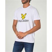 Lyle & Scott t-shirt bianca mezza manica con maxi logo aquila