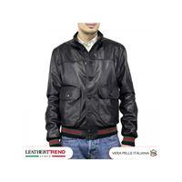 Leather Trend Italy bomber uomo in vera pelle di agnello con bottoni edizione speciale