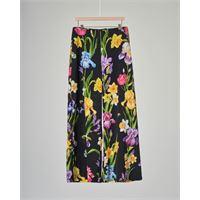 Elsy pantalone nero a palazzo con stampa floreale 40-44