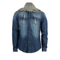 Sky T-Shirt camicia jeans uomo con cappuccio