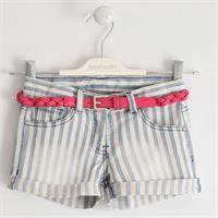 Sarabanda - short in jeans denim rigato con cintura ecopelle intrecciata fuxia ragazza