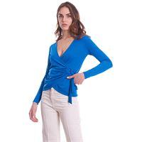 LUCKYLU MILANO blusa luckylu incrociata in jersey bluette