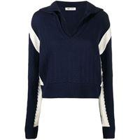 Ports 1961 maglione con riga a contrasto - blu