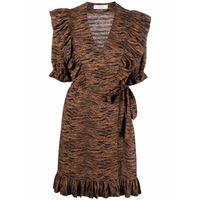 Roseanna abito corto con ruches landsunny - marrone