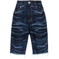 AREA shorts denim con stampa - blu