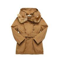 CHLOÉ cappotto in twill di cotone con eco pelliccia