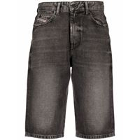 Diesel shorts denim con effetto schiarito - grigio
