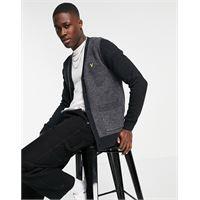 Lyle & Scott - cardigan in maglia con dettagli a contrasto-grigio