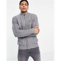 Lyle & Scott - cardigan in maglia a trecce con zip-grigio