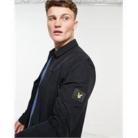 Lyle & Scott - giacca nera in cotone e nylon ripstop-nero