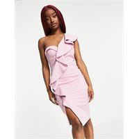 Lavish Alice - vestito midi monospalla drappeggiato a corsetto con volant rosa lilla