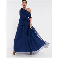 ASOS DESIGN - vestito lungo in tulle con spalle scivolate blu navy