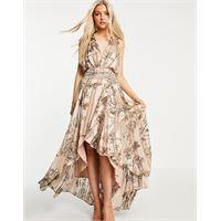 ASOS DESIGN - vestito lungo in raso con laccetti in macramé a righe con stampa-multicolore