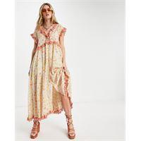 Free People - milania - vestito al polpaccio a fiori vintage con finiture a volant-arancione