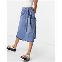 Selected femme - gonna midi di jeans, taglio lungo, blu medio