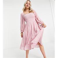Y.A.S Petite - vestito midi in jacquard rosa