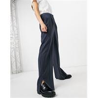 Selected femme - pantaloni gessati a fondo ampio-multicolore