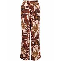 DKNY pantaloni a palazzo a fiori - marrone