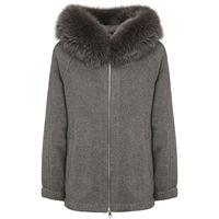 BLANCHA giacca in maglia di cashmere con pelliccia