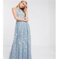 ASOS Tall asos design tall - vestito lungo allacciato al collo in tessuto a rete con fiori ricamati e paillettes-multicolore