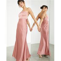 ASOS EDITION - vestito lungo in raso con scollo squadrato e allacciatura sul retro, colore rosa scuro