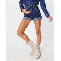 People Tree - mom shorts taglio lungo in denim di cotone organico lavaggio medio-blu