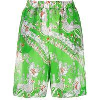Emilio Pucci shorts a vita alta rugiada con stampa - verde
