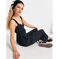 Abercrombie & Fitch - tuta jumpsuit nera arricciata sul davanti-nero