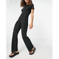 French Connection - scarlett - tuta jumpsuit in jersey a coste nero con colletto