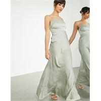 ASOS EDITION - vestito lungo in raso con scollo squadrato e allacciatura sul retro, colore verde salvia