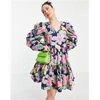 Y.A.S - vestito grembiule a balze con stampa floreale in cotone organico con maniche a sbuffo-multicolore