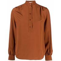 Saint Laurent blusa con colletto rialzato - marrone