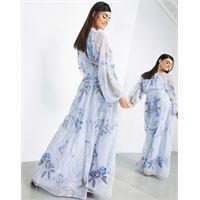 ASOS EDITION - vestito lungo in tessuto a rete ricamato con fiori e foglie, colore blu pallido